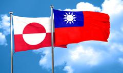 greenland flag with Taiwan flag, 3D rendering - stock illustration