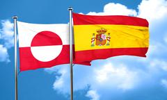 greenland flag with Spain flag, 3D rendering - stock illustration