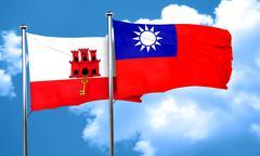 gibraltar flag with Taiwan flag, 3D rendering - stock illustration