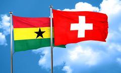 Ghana flag with Switzerland flag, 3D rendering - stock illustration
