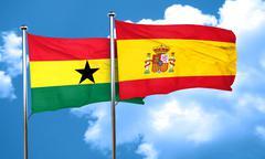 Ghana flag with Spain flag, 3D rendering - stock illustration