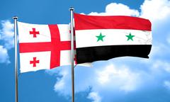 Georgia flag with Syria flag, 3D rendering - stock illustration