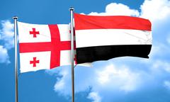 Georgia flag with Yemen flag, 3D rendering - stock illustration