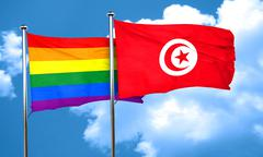 Gay pride flag with Tunisia flag, 3D rendering - stock illustration