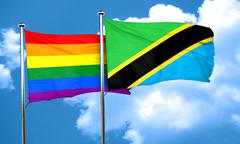 Gay pride flag with Tanzania flag, 3D rendering - stock illustration