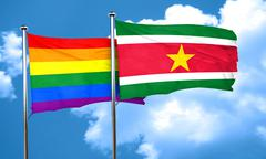 Gay pride flag with Suriname flag, 3D rendering Stock Illustration