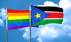 Gay pride flag with South Sudan flag, 3D rendering - stock illustration