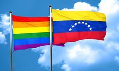 Gay pride flag with Venezuela flag, 3D rendering - stock illustration