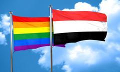 Gay pride flag with Yemen flag, 3D rendering - stock illustration