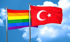 Gay pride flag with Turkey flag, 3D rendering - stock illustration