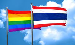 Gay pride flag with Thailand flag, 3D rendering - stock illustration