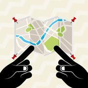 global positioning system design - stock illustration