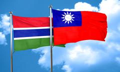 Gambia flag with Taiwan flag, 3D rendering - stock illustration