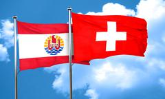 French polynesia flag with Switzerland flag, 3D rendering Stock Illustration