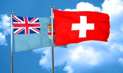 Fiji flag with Switzerland flag, 3D rendering Stock Illustration