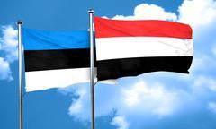 estonia flag with Yemen flag, 3D rendering - stock illustration