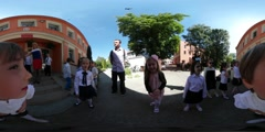 360Vr Video Kids Are Grimacing Kindergarten Graduation in Opole Kids Have Fun Stock Footage