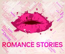 Romance Stories Indicating Chronicles Boyfriend And Chronicle - stock illustration