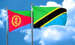 Eritrea flag with Tanzania flag, 3D rendering Stock Illustration