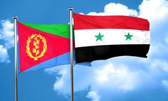 Eritrea flag with Syria flag, 3D rendering - stock illustration