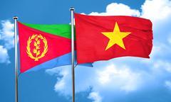 Eritrea flag with Vietnam flag, 3D rendering - stock illustration