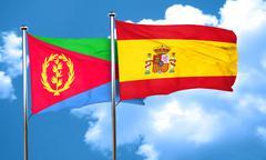 Eritrea flag with Spain flag, 3D rendering - stock illustration