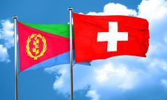 Eritrea flag with Switzerland flag, 3D rendering Stock Illustration