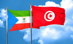 Equatorial guinea flag with Tunisia flag, 3D rendering Stock Illustration