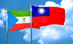 Equatorial guinea flag with Taiwan flag, 3D rendering Stock Illustration