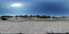 360Vr Video Cityscape Sunny Day Cars Are Driven Along Modern Cobblestone Square Stock Footage