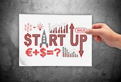 placard with start up concept - stock illustration
