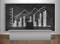 chalk board with drawing chart - stock illustration