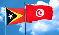 east timor flag with Tunisia flag, 3D rendering - stock illustration