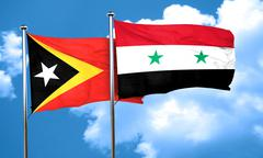 east timor flag with Syria flag, 3D rendering - stock illustration