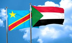 Democratic republic of the congo flag with Sudan flag, 3D render - stock illustration