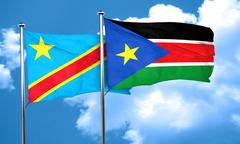 Democratic republic of the congo flag with South Sudan flag, 3D - stock illustration