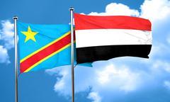 Democratic republic of the congo flag with Yemen flag, 3D render Stock Illustration