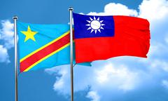 Democratic republic of the congo flag with Taiwan flag, 3D rende - stock illustration