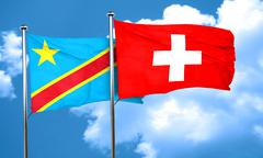 Democratic republic of the congo flag with Switzerland flag, 3D - stock illustration
