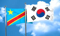 Democratic republic of the congo flag with South Korea flag, 3D - stock illustration