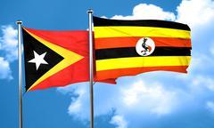 east timor flag with Uganda flag, 3D rendering - stock illustration