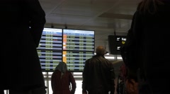People departures board screen airport flight information time lapse ataturk Stock Footage