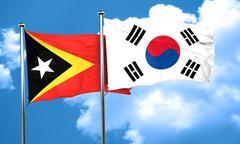 east timor flag with South Korea flag, 3D rendering - stock illustration