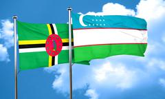 Dominica flag with Uzbekistan flag, 3D rendering Stock Illustration
