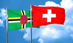 Dominica flag with Switzerland flag, 3D rendering Stock Illustration
