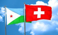 Djibouti flag with Switzerland flag, 3D rendering Stock Illustration