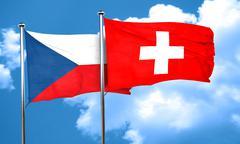 czechoslovakia flag with Switzerland flag, 3D rendering - stock illustration