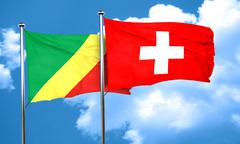 Congo flag with Switzerland flag, 3D rendering Stock Illustration