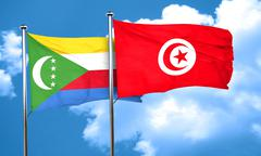 Comoros flag with Tunisia flag, 3D rendering Stock Illustration