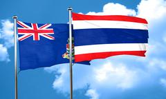 cayman islands flag with Thailand flag, 3D rendering - stock illustration